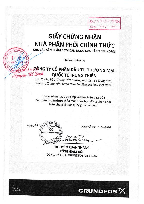 Bản sao y Giấy chứng nhận Nhà phân phối chính thức