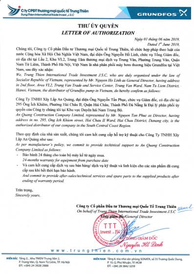 Thư ủy quyền grundfos đại lý máy bơm nước An Quảng